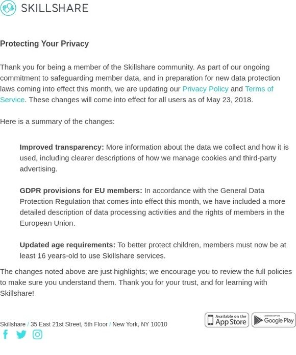 Skillshare: Updates to Skillshare Privacy Policy and Terms
