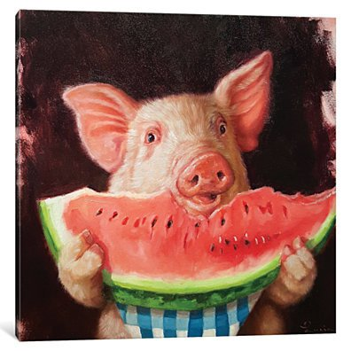 Pig Out by Lucia Heffernan Canvas Print