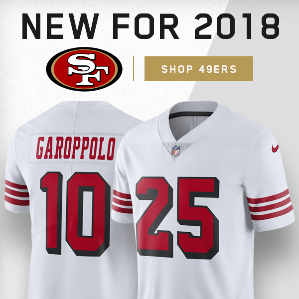 9734d0027 FansEdge.com  FREE SHIPPING ON NEW 2018 49ers Color Rush Jerseys ...