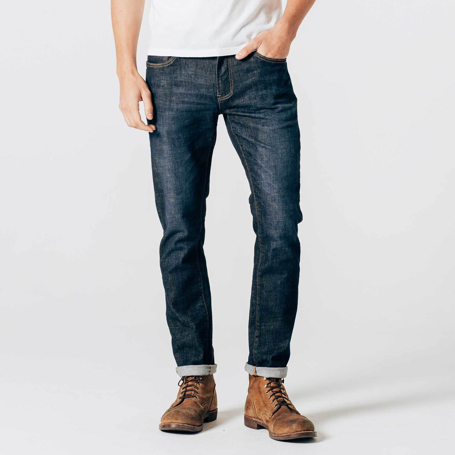 Mens Skinny-Slim Jeans in Six-Month Dark Worn