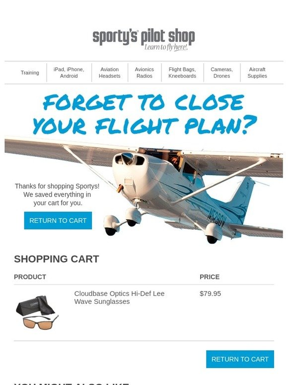 8efdcfc7e24a5 Sporty s Pilot Shop  We Saved Everything In Your Cart!