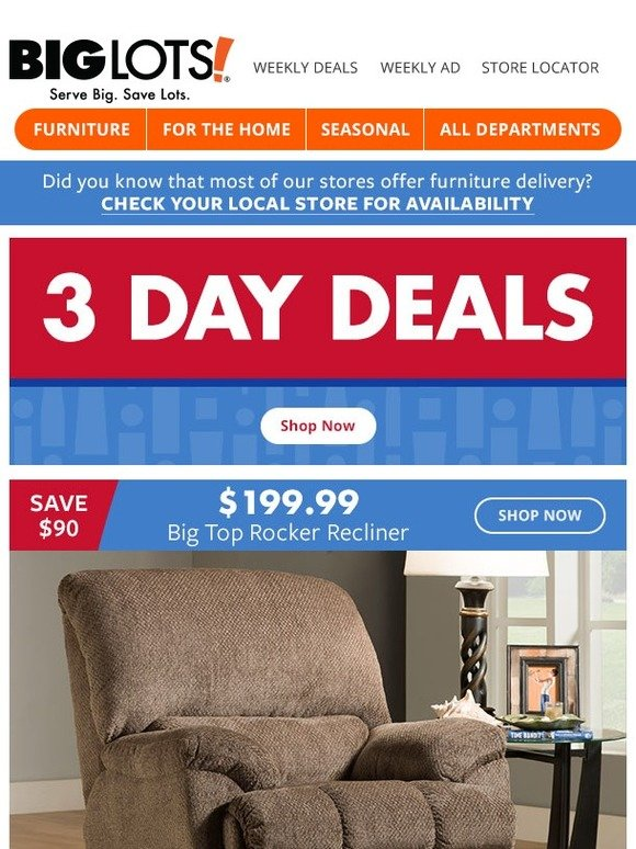 Big Lots Limited Time 199 99 Recliners Milled
