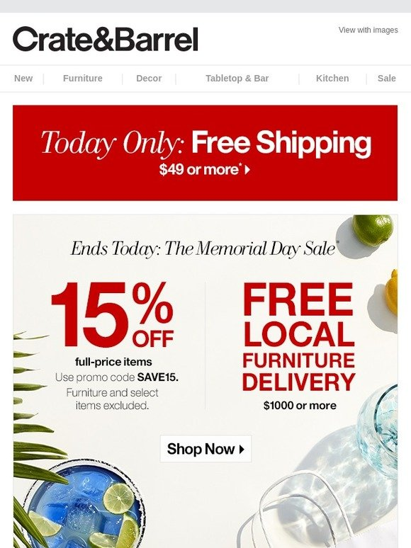 Outstanding Crate And Barrel Our Memorial Day Sale Just Got Bigger Milled Beutiful Home Inspiration Xortanetmahrainfo