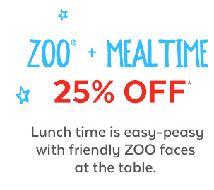Zoo + Mealtime 25% off* | Lunch time is easy-peasy with friendly zoo faces at the table.