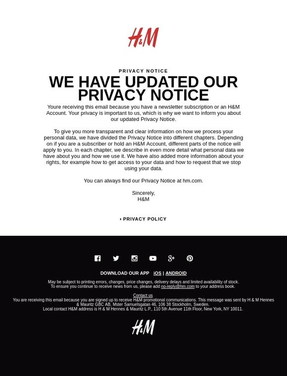 H&M: We care about your privacy! | Milled