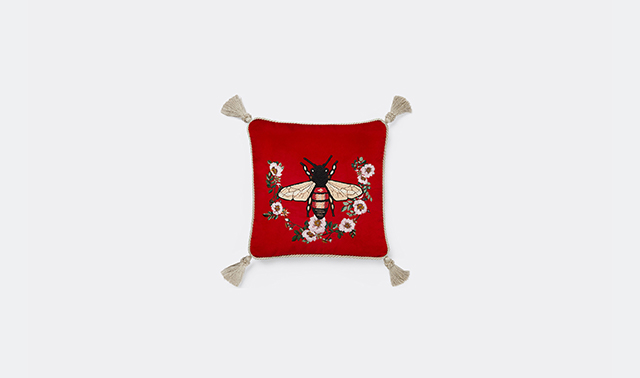 'Bee' velvet cushion by Alessandro Michele for Gucci