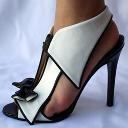 ca0d07bfbf455f Shoespie Sexy Black and White Bowtie Dress Sandals