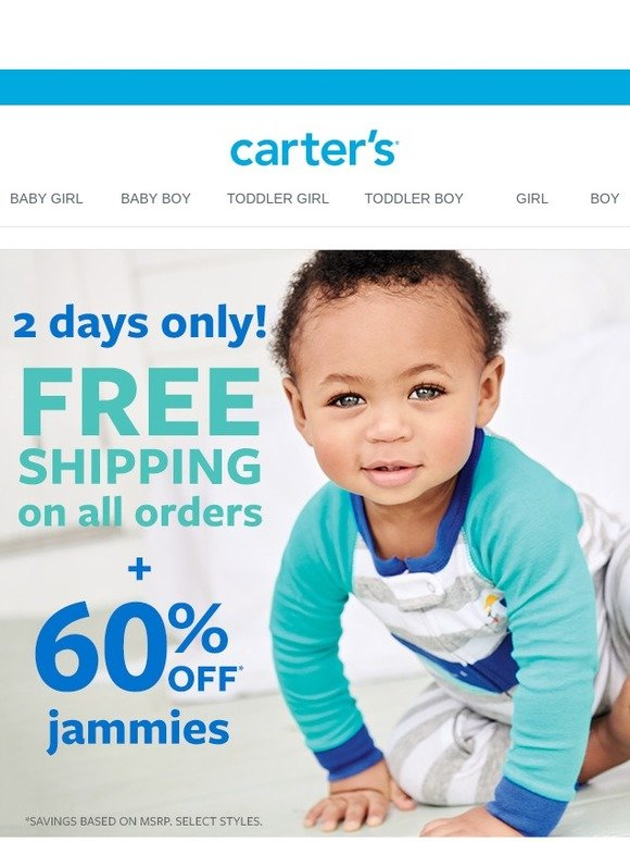 9c1044ba6 Carter s  FREE SHIPPING + 60% off jammies!