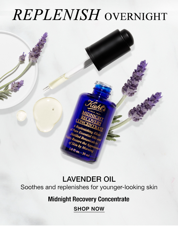 REPLENISH OVERNIGHT - LAVENDER OIL - Soothes and replenishes for younger-looking skin - Midnight Recovery Concentrate- SHOP NOW