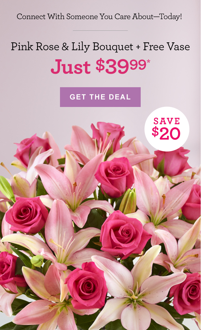 1 800 Flowers Just 3999 Beautiful Pink Roses Lilies Plus A