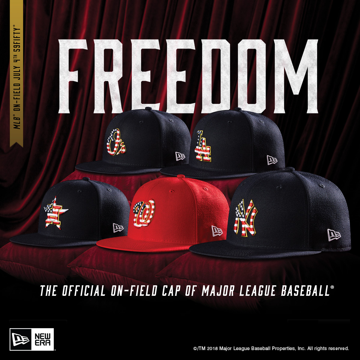 dcc38bedd7e603 Embrace your patriotism and the love of your favorite baseball team with  the New Era 2018 MLB On-Field July 4th 59FIFTY