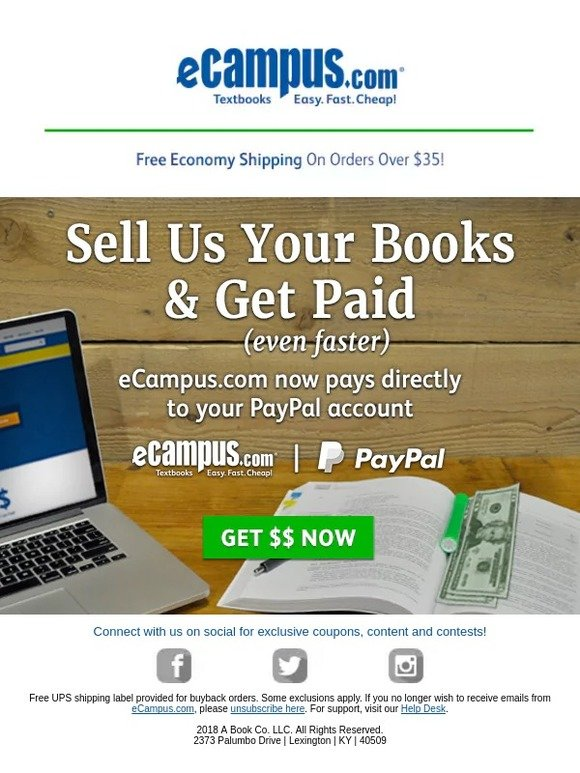 eCampus com: Sell Your Textbooks & Get Paid Fast with PayPal