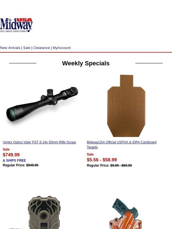 MidwayUSA: Deals from Vortex Optics, MidwayUSA, Stealth Cam