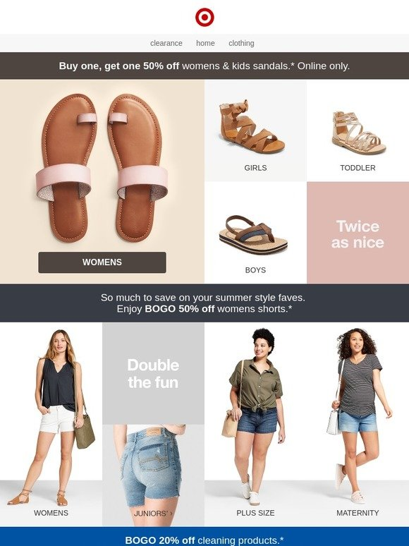 c6427eb5e536 Target  Double the deal  BOGO 50% off women s   kids  sandals.