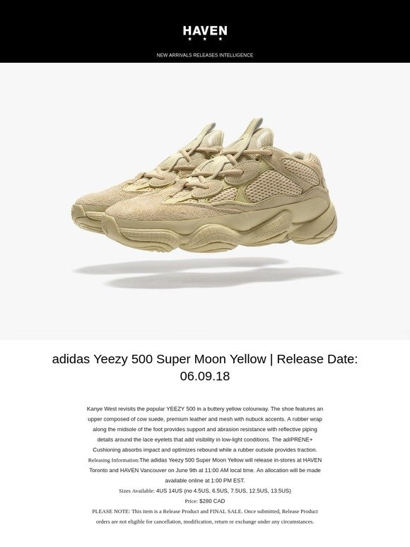 8474e92933a3e Haven  Releasing Soon  adidas Yeezy 500  Super Moon Yellow ...