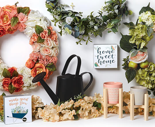 Spring Decor, Floral, Containers and Ribbon.
