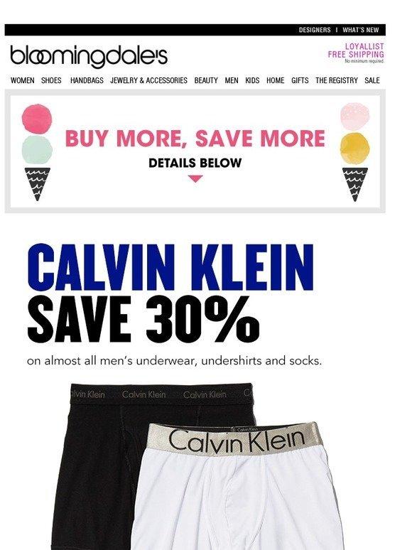 6cbb329a6f1 Bloomingdale s  Save 30% on Calvin Klein underwear