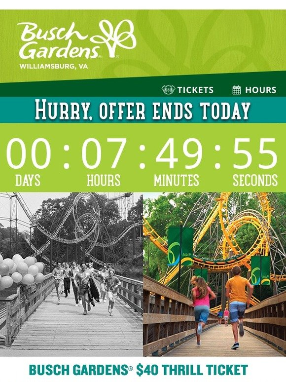 Busch Gardens: Hurry, only 8 hours left to purchase $40 Thrill ...