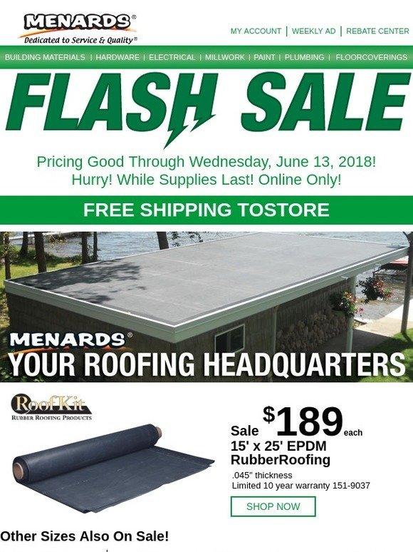 Menards Flash Sale Rubber Roofing Milled
