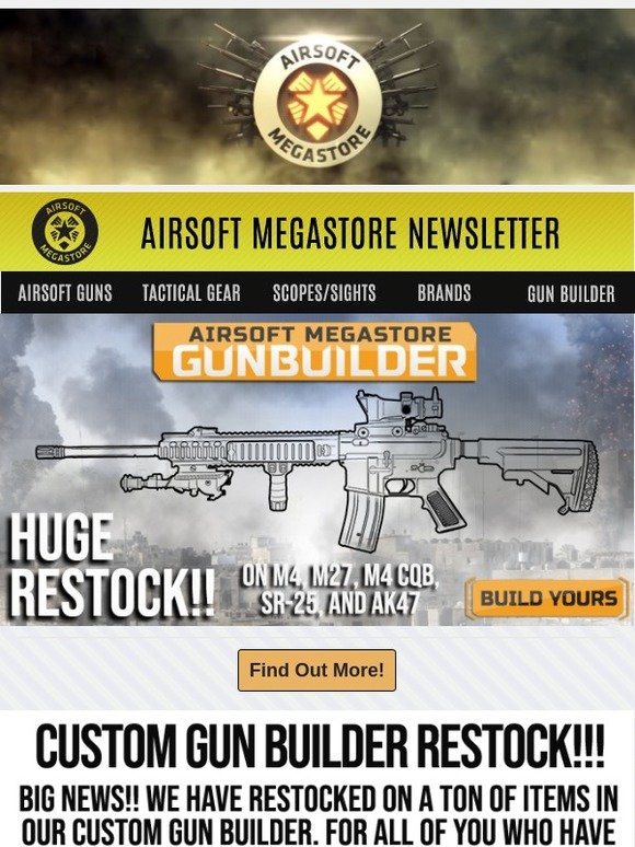 airsoftmegastore com build your dream airsoft gun find out how