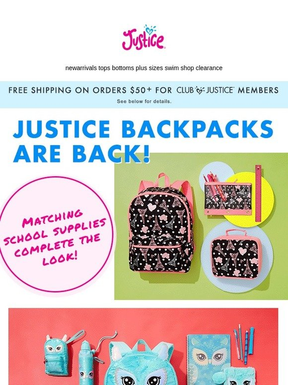 Justice : Justice Backpacks are back with school supplies to match