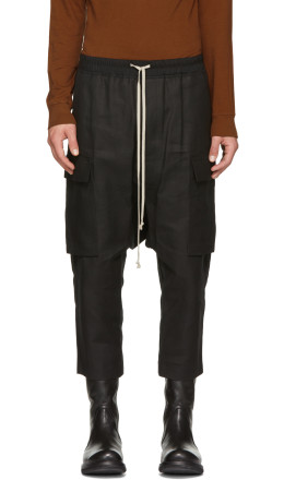 Rick Owens - Black Canvas Cropped Cargo Pants