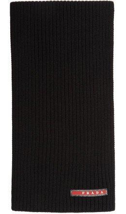 Prada - Black Wool Logo Scarf