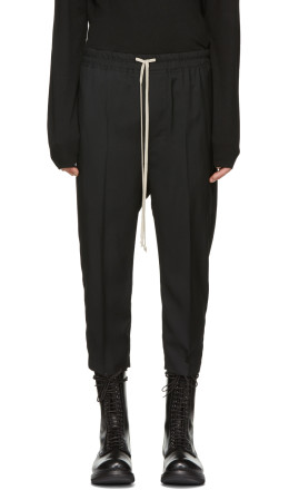 Rick Owens - Black Wool Astaires Cropped Trousers