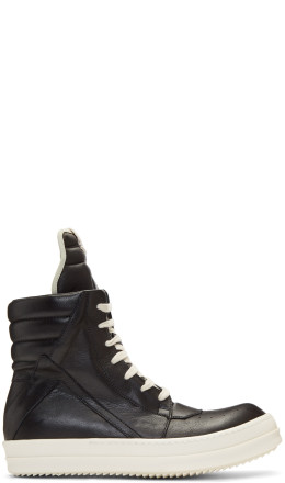 Rick Owens - Black & Off-White Geobasket High-Top Sneakers