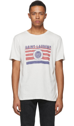 Saint Laurent - White Flag Logo T-Shirt