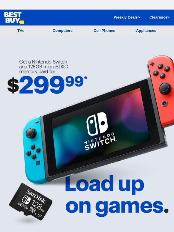 Best Buy: Get a Nintendo Switch and 128GB microSDXC memory