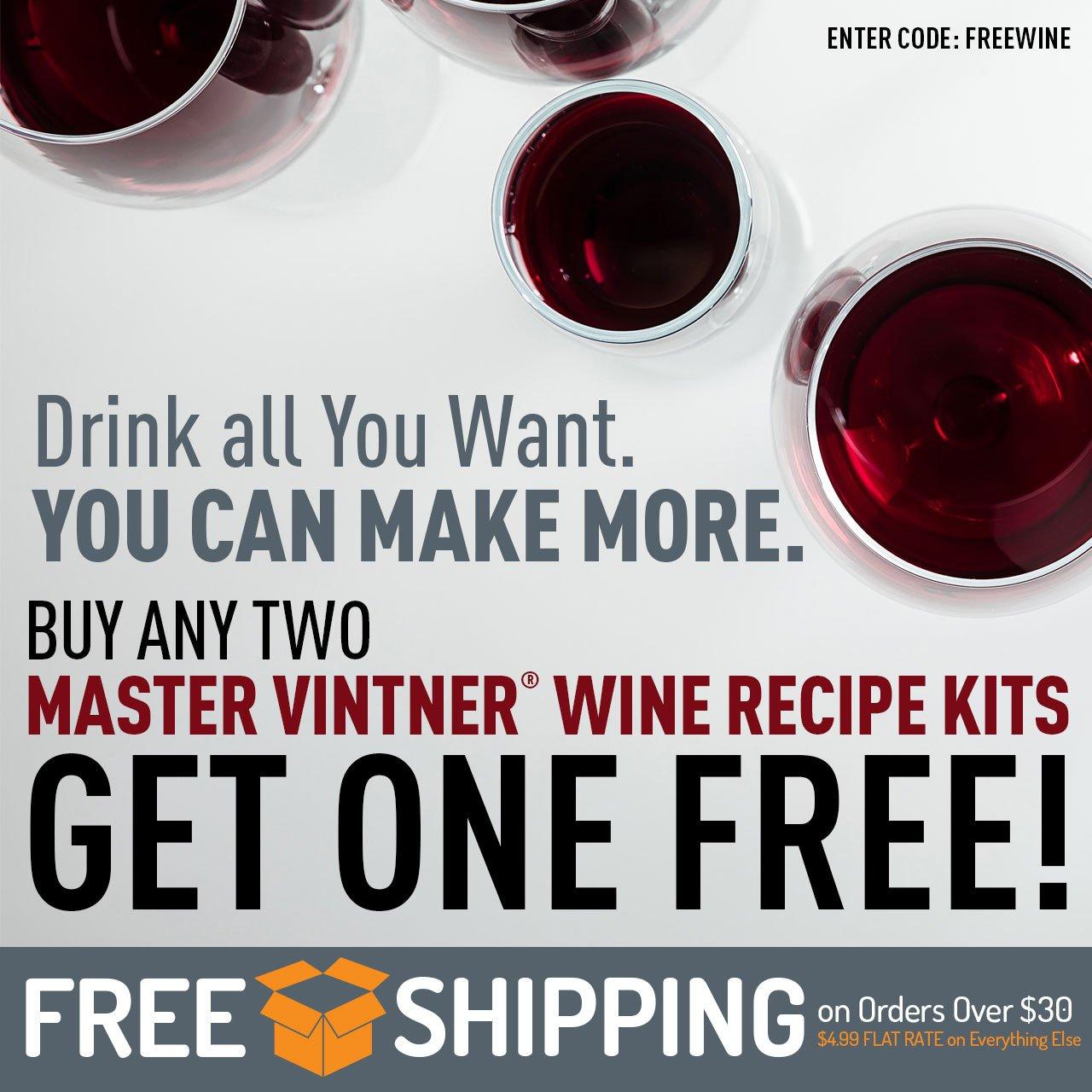 Buy Two Master Vintner Wine Kits, Get One Free