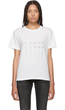Saint Laurent - White Stars Logo T-Shirt