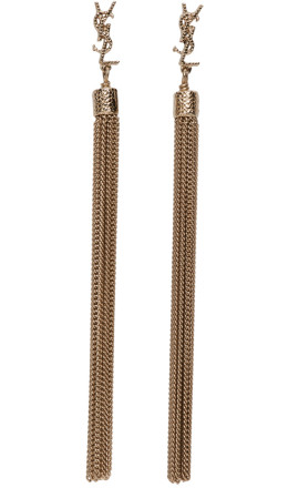 Saint Laurent - Gold Loulou Chain Fringe Earrings