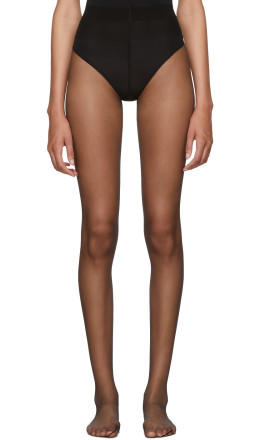 Saint Laurent - Black Sheer Crystal Logo Tights