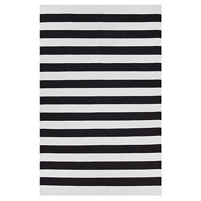 Fab Habitat - Indoor Cotton Rug - Nantucket - Black & Bright White