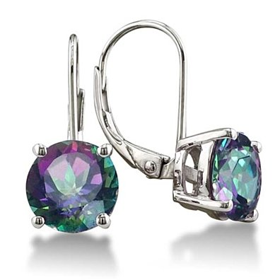 Solid Sterling Silver 3.50 CTTW Genuine Mystic Topaz Earrings