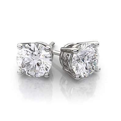 14K White Gold Swarovski Crystal Stud Earrings