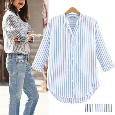 Striped Cotton Button-Up Blouse in 3 Colors