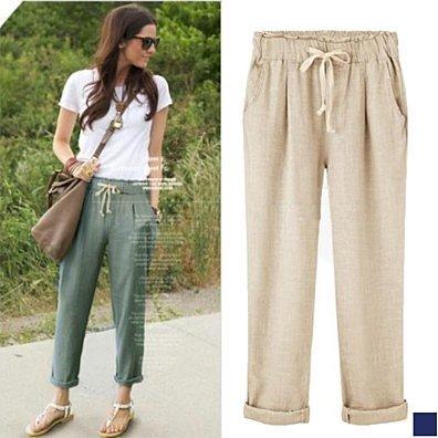 Elastic Waist Breathable Cotton Pants in 3 Colors