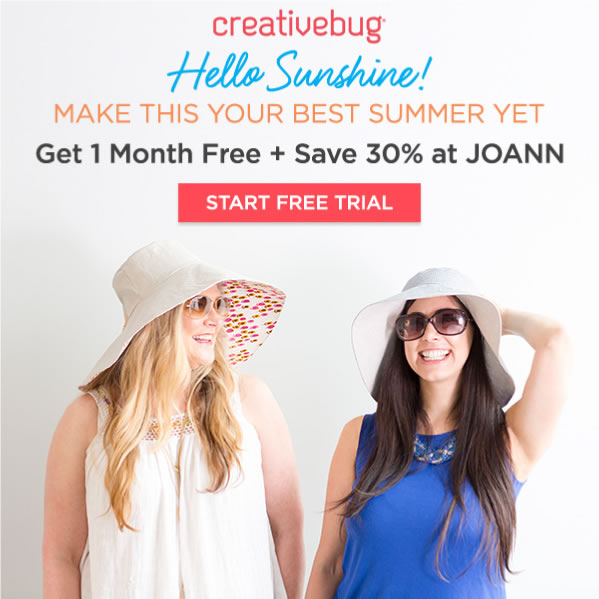 Learn With CreativeBug 1 Month Free.