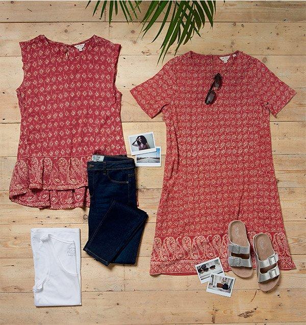 7233631e073 Sophie Vest £19.50 | Simone Daisy Diamond Dress £45 · Rosie Sunglasses £28  | Meldon Double Strap Sandals £35
