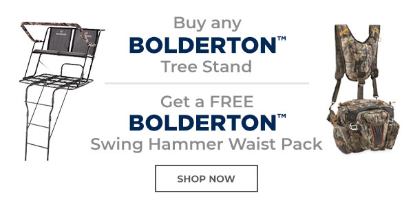Buy any Bolderton Tree Stand and get a Free Bolderton Swing Hammer Waist Pack. *Limit One Per Customer