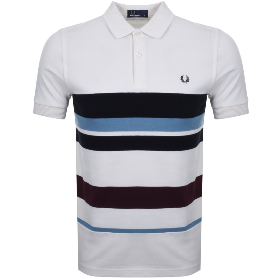 Fred Perry Multi Stripe Polo T Shirt White