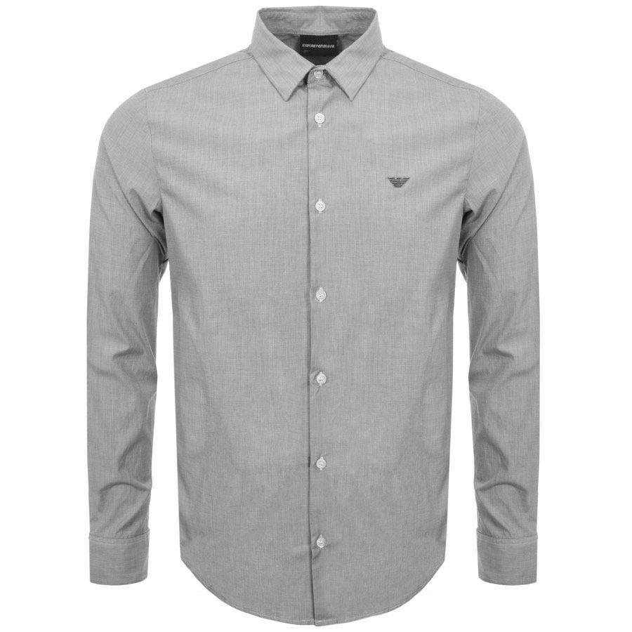 Emporio Armani Long Sleeved Slim Fit Shirt Grey