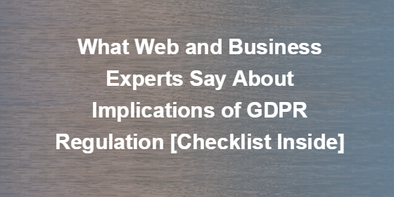 What Web and Business Experts Say About Implications of GDPR Regulation [Checklist Inside]