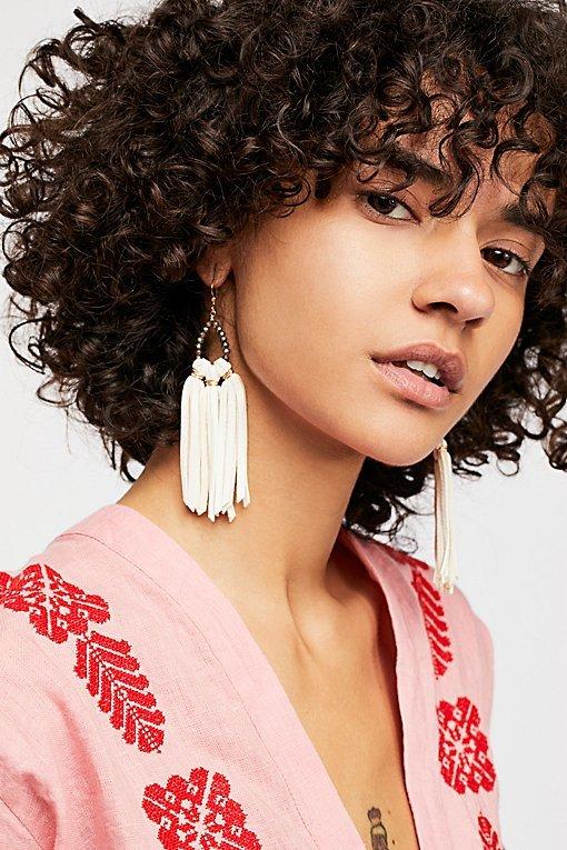 Tahiti Stone Drop Leather Hoop Earrings