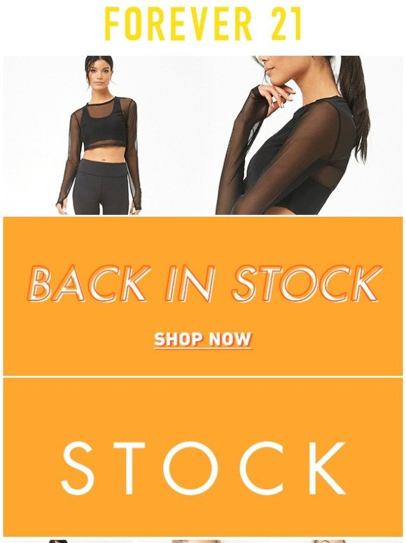 forever 21 back in stock active milled