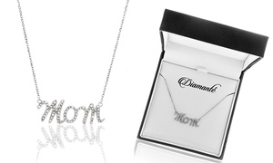 1/10 CTTW Diamond Mom Necklace in Sterling Silver by Diamante