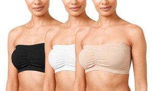 Women's Plus Size Padded Bandeau Tube Bra